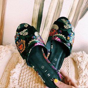 Anthropologie | Chio Satin Slip On Sandal